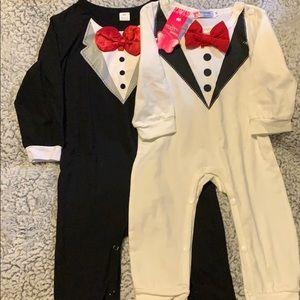 Black and white bow tie onesies